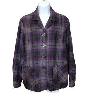 Pendleton Womens Plaid Wool Button up Shirt Jacket Purple Gray Large P USA made